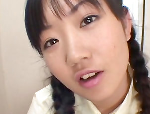 Asian,Japanese,Gangbang,Bukkake,Pigtails,Schoolgirl,Blowbang,Fetish,Facial,Speculum,Straight Asian cutie is fucked and filled