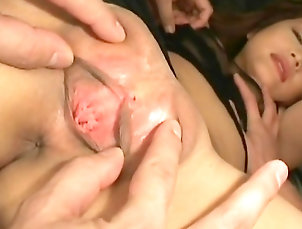 Couple,Teen,Asian,Japanese,Lingerie,Natural tits,Shaved pussy,Pussy licking,Fingering,Brunette,Straight Japanese babe having intense stimulation