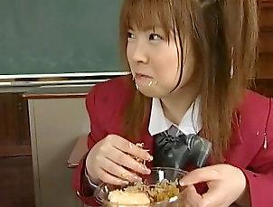 Bukkake,Japanese,Schoolgirl,Pigtails,Hardcore,Hairy,Blowjob,Asian,Facial,Straight Sweet japanese enjoys warm jizz