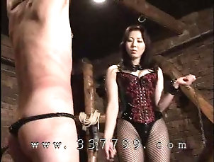 Japanese mistress MAO whips a slave body with a whip Japanese mistress MAO whips a slave...