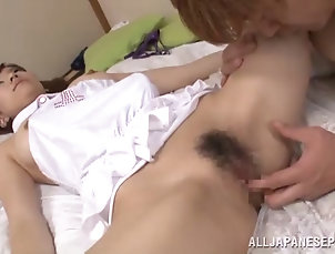 hardcore;asian;hairy;tits;handjob;blowjobs;cowgirl;doggy-style Dazzling asian cowgirl giving huge...