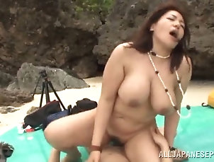 gangbang;asian;outdoor;chubby;beach;big-tits;handjob;blowjobs;licking;hairy;cowgirl;doggy-style Active asian cowgirl getting her...