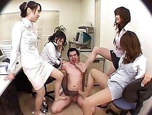 Four office ladies nylon feet domination(2) Four office ladies nylon feet...