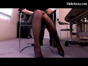 Asian;Pantyhose;Office,Asian,Office,Pantyhose Girl In Suit And Pantyhose Rubbing...